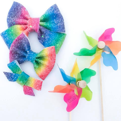 Rainbow Snow Cone Bow
