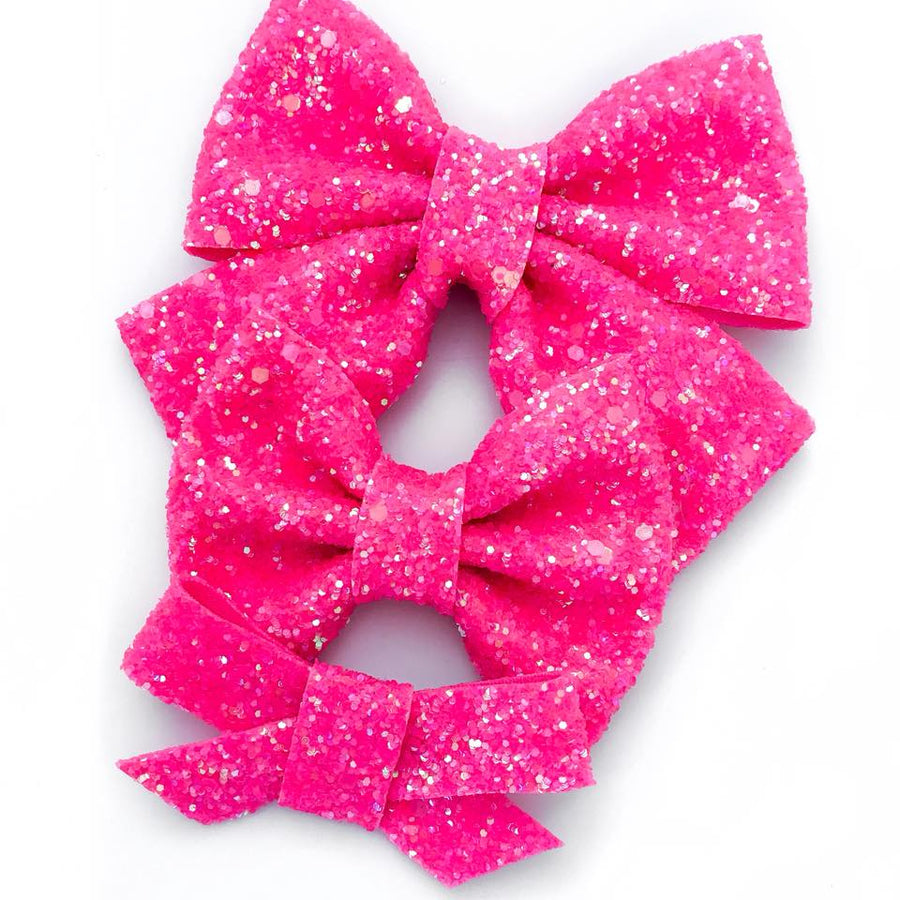 Neon Pink Iridescent Bow