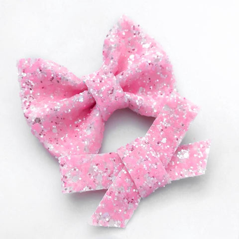 Strawberries & Cream Glitter Bow