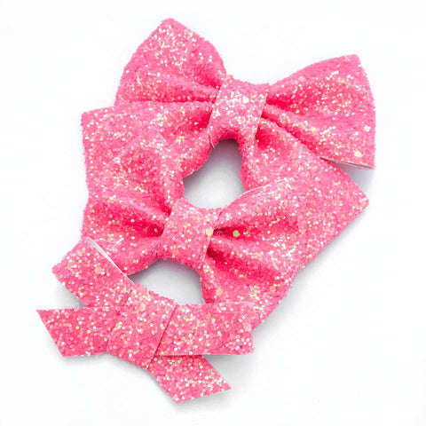 Coral Clouds Glitter Bow