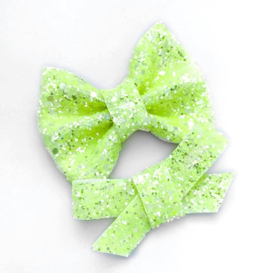 Neon Lemon Glitter Bow