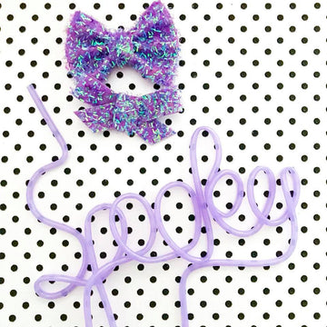 Fuzzy Purple Monster Bow
