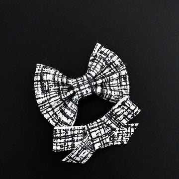 Black Glitter Tweed Bow
