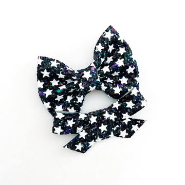 Iridescent Stars At Night Glitter Bow