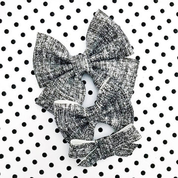 Black and White Linen Vegan Leather Bow