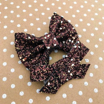 Golden Brown Glitter Bow