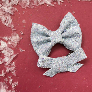 Cozy Grey Sweater Glitter Bow