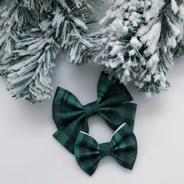 Evergreen Buffalo Plaid Vegan Leather Bow