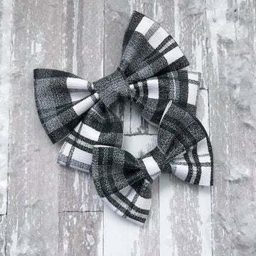 Black Buffalo Plaid Vegan Leather Bow