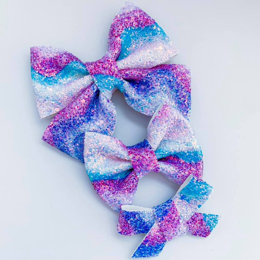 Blue Ombre Waves Glitter Bow