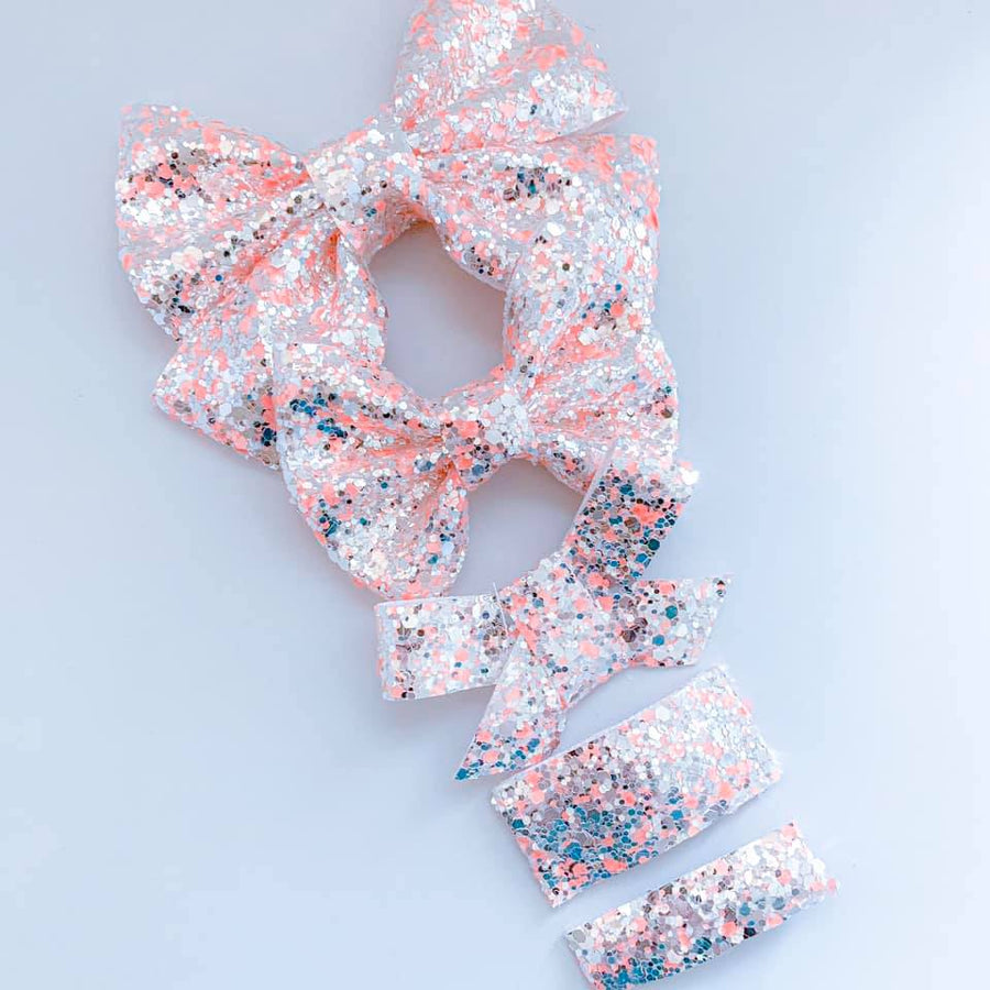 Peach Neon Lights Glitter Bow