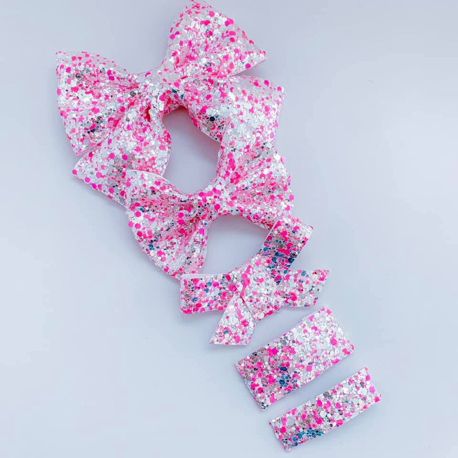 Pink Neon Lights Glitter Bow