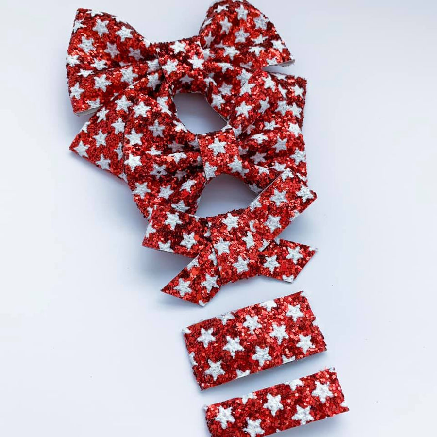 Red Star Glitter Bow