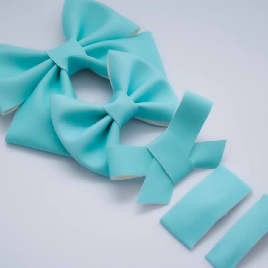 GLOW IN THE DARK Turquoise Vegan Leather Bow