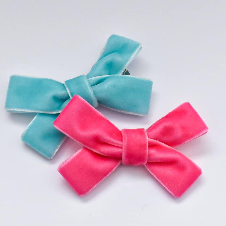 Cotton Candy Velvet Bow Duo