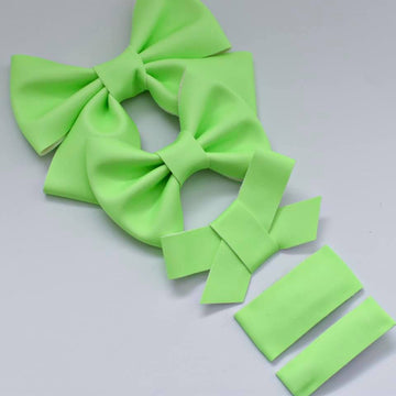 GLOW IN THE DARK Neon Green Vegan Leather Bow