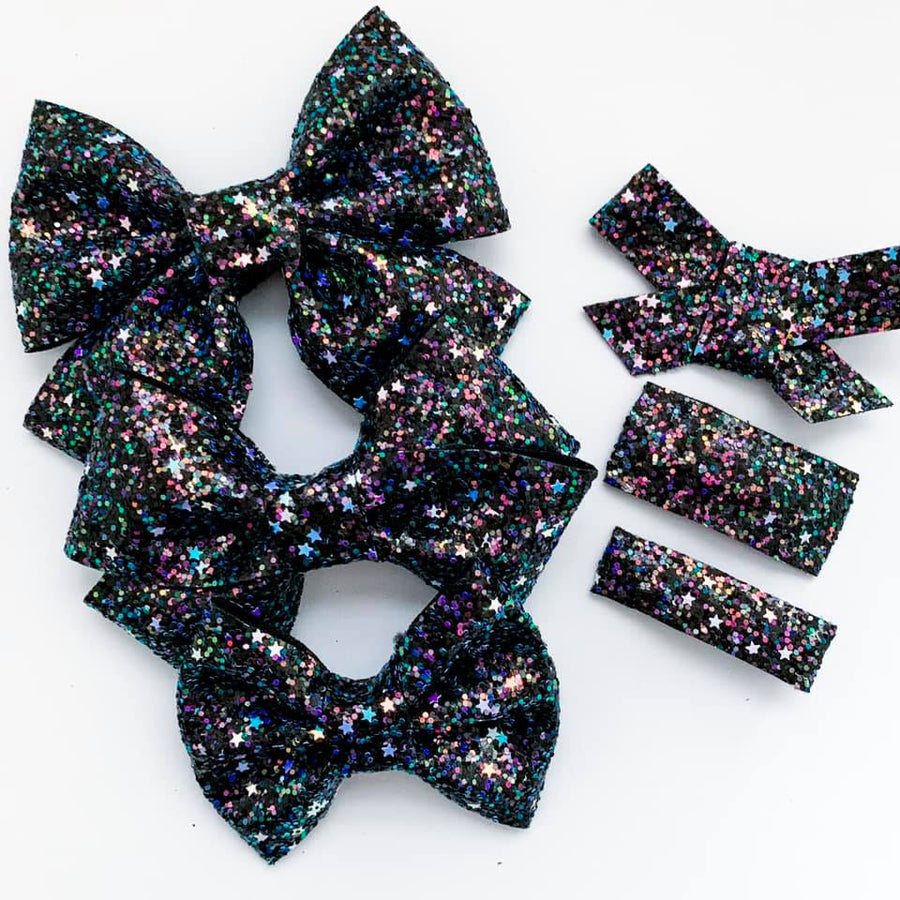 Iridescent Twilight Glitter Bow