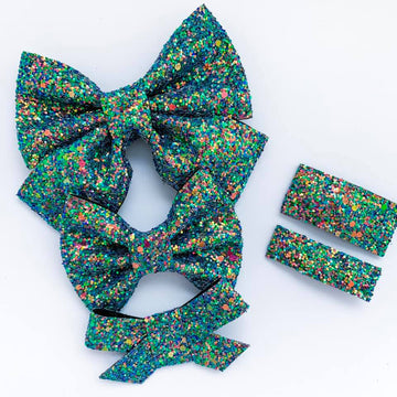 Iridescent Forest Glitter Bow
