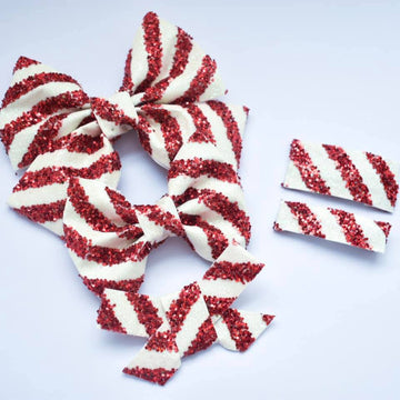 Candy Cane Glitter Bow