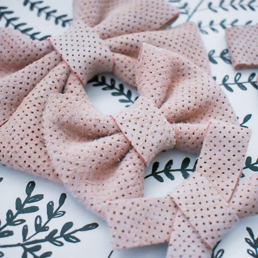 Ballet Pink Perforated Leather Bow