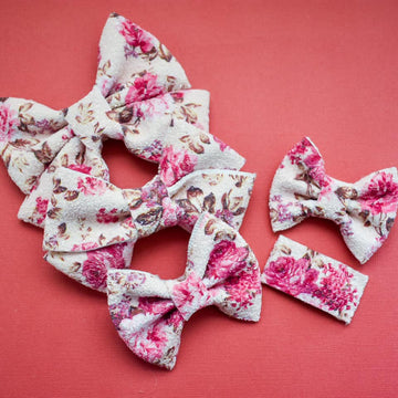Love you Forever Floral Glitter Bow