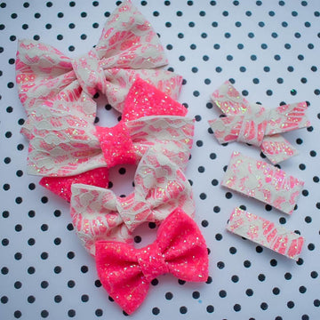 Neon Pink Lace Glitter Bow