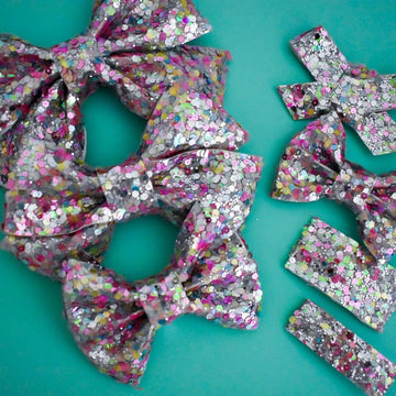 Spring Dip 'n Dots Glitter Bow