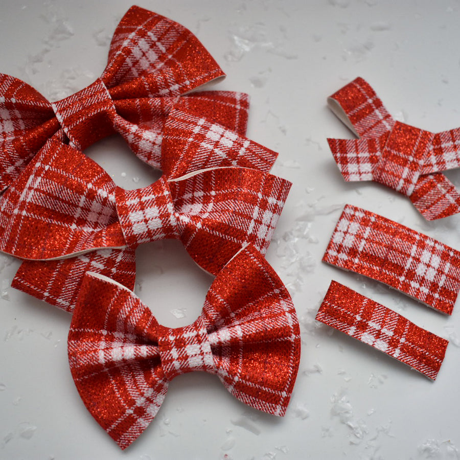 Red Shimmer Plaid Glitter Bow