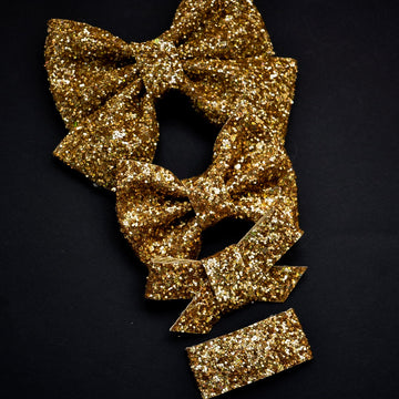 Gold Hologram Glitter Bow