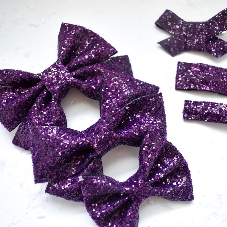 Plum Perfect Glitter Bow