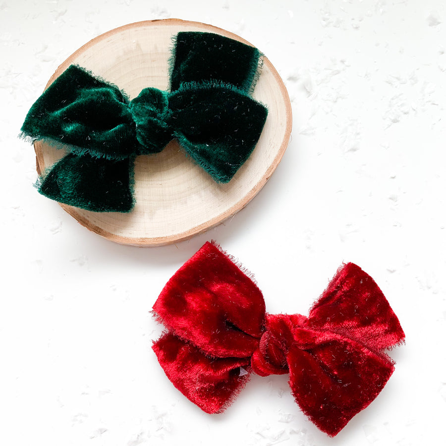 Holiday Hand Tied Silk Velvet Bows