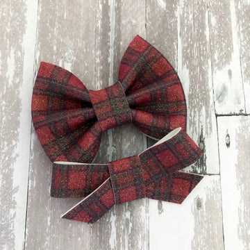Glitter Plaid Bow