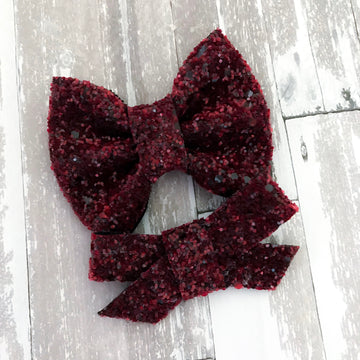 Deep Burgundy Glitter Bow