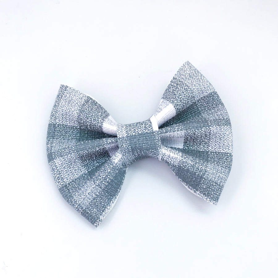 Gray Plaid Vegan Leather Bow