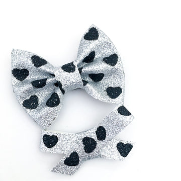 Silver and Black Heart Glitter Bow