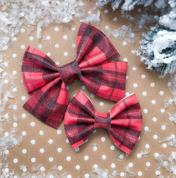 Red Plaid Vegan Leather Bow