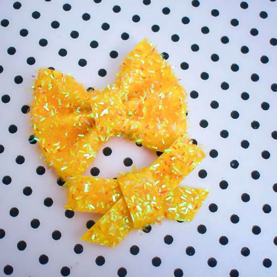 Fuzzy Yellow Chick Glitter Bow