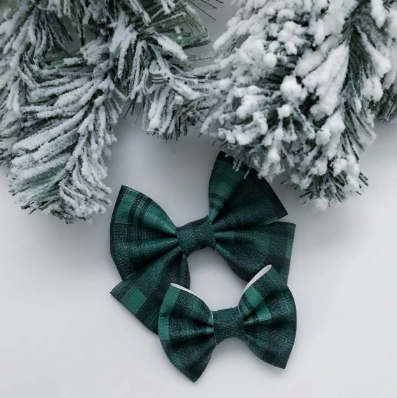Evergreen Plaid Vegan Leather Bow