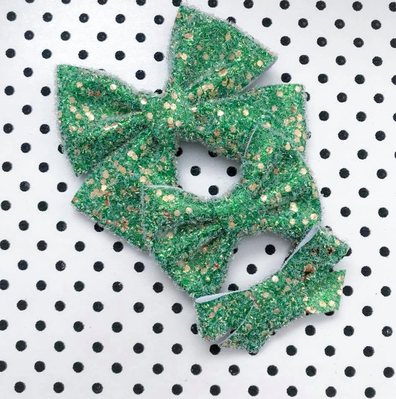 Green Sugar Cookie Glitter Tinsel Bow
