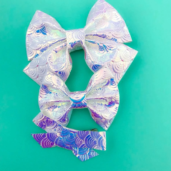 Mermaid Tail Vegan Leather Bow