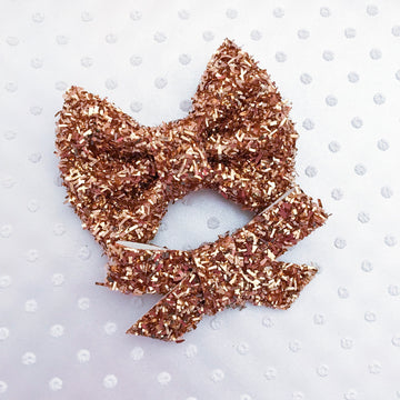 Rose Gold Tinsel Glitter Bow