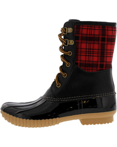 Cape Robbin - Women's Short Plaid Duck Rain Boots- Black - V.I.M. - 1