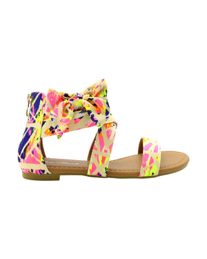 Anna Almeida - Women's Bow Splatter Paint Print Gladiator Sandals - V.I.M. - 1