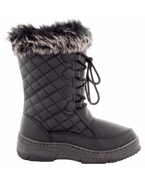 Anna Almeida - Women's Quilted Snow Boot- Black - V.I.M. - 1