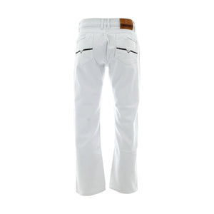 Ankor East - Men's Back Pocket Embroidery With Wash Jeans - White - V.I.M. - 2