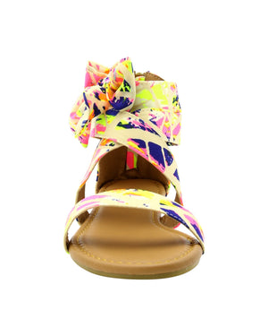 Anna Almeida - Women's Bow Splatter Paint Print Gladiator Sandals - V.I.M. - 5