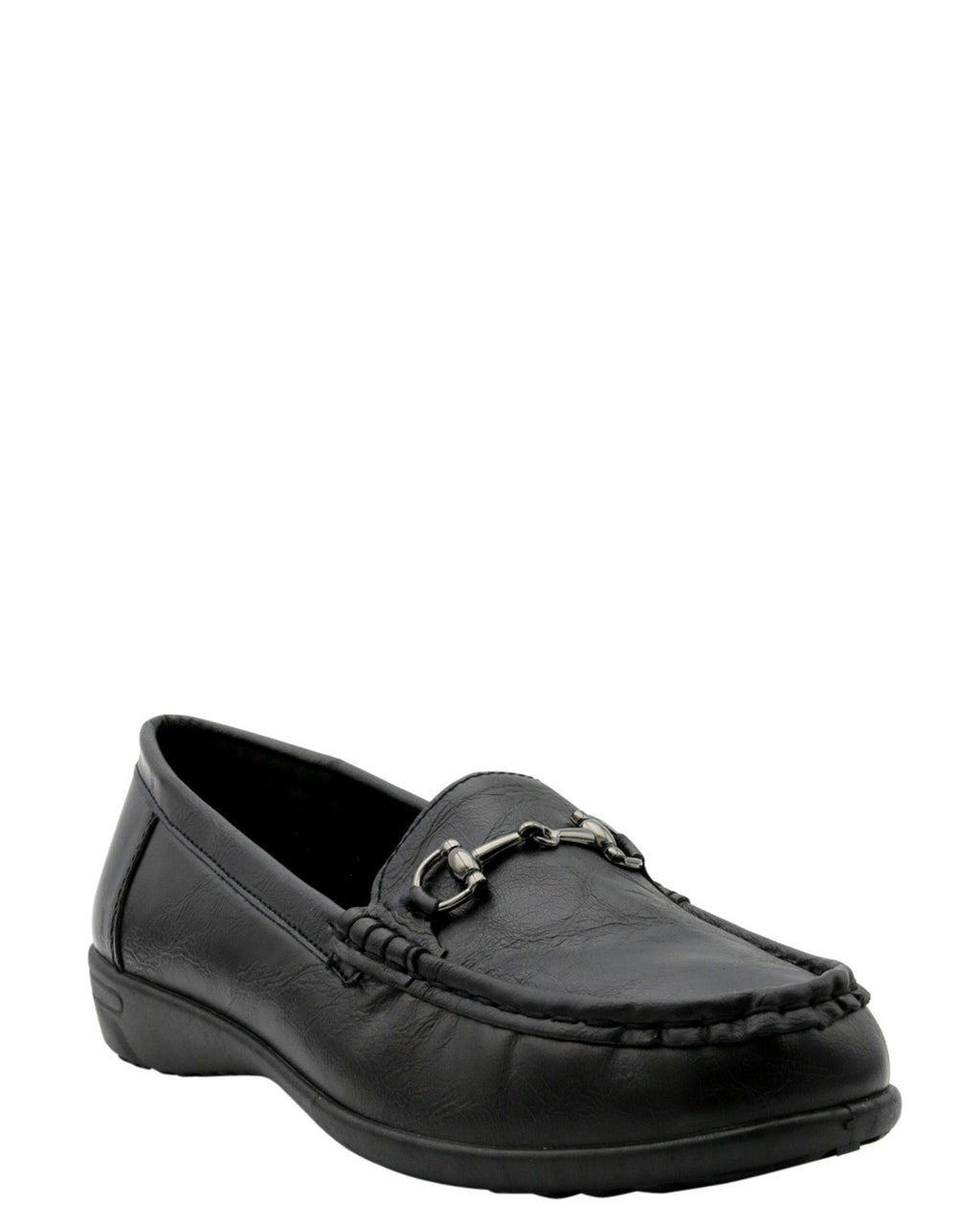 Women Buckle On Vamp Extiror Stich Loafer Flats