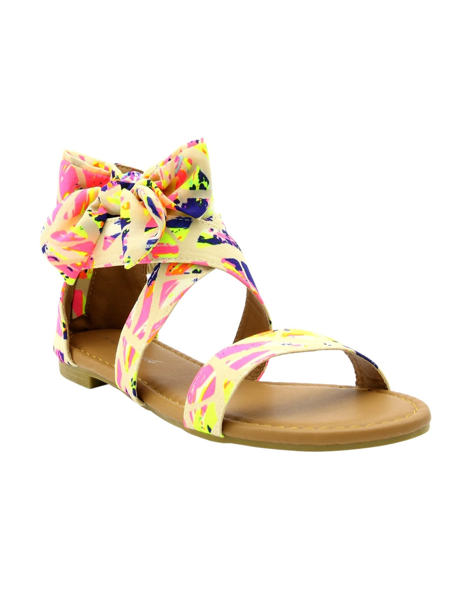 Women's Bow Splatter Paint Print Gladiator Sandals