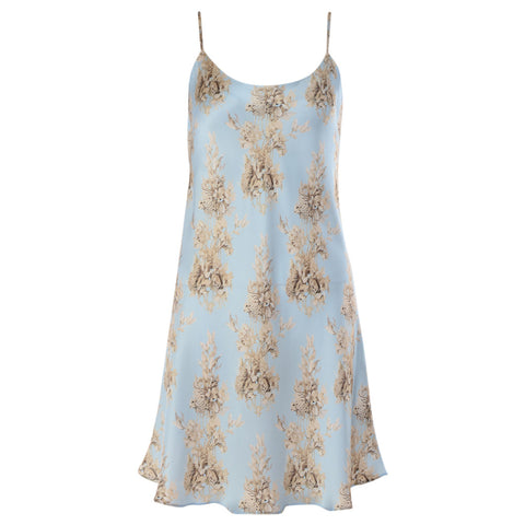 Esterly Blue Carving Chemise Silk Nightdress