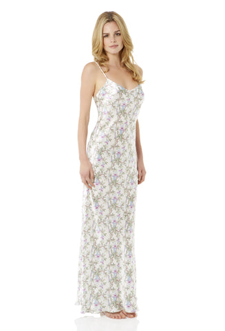 Delicate Floral Long Silk Nightdress